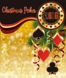 Fondo del póker de la Navidad, nuevo 2019 años stock de ilustración