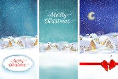 Fondo del paesaggio del villaggio di inverno Illustrazione di Natale royalty illustrazione gratis