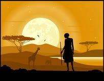 Fondo del paesaggio dell'Africa illustrazione vettoriale