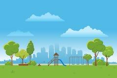 Fondo del paesaggio della primavera Illustrazione di vettore del parco pubblico Città nel fondo Fotografia Stock