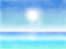 Fondo del paesaggio della spiaggia di estate dell'acquerello royalty illustrazione gratis