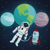 Fondo del paesaggio dello spazio di colore con il volo del razzo e dell'astronauta in universo e la vista dei pianeti illustrazione di stock