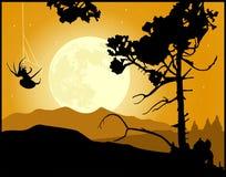 Fondo del paesaggio di notte della luna piena illustrazione vettoriale