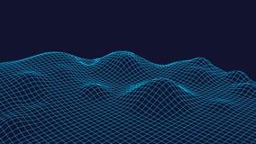 Fondo del paesaggio di Wireframe Paesaggio futuristico con la linea griglia Poli tracciato basso di 3D Wireframe Rete cyber Immagine Stock Libera da Diritti