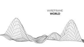 Fondo del paesaggio di Wireframe Paesaggio futuristico con la linea griglia Poli tracciato basso di 3D Wireframe Rete cyber Fotografie Stock Libere da Diritti