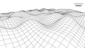 Fondo del paesaggio di Wireframe Paesaggio futuristico con la linea griglia Poli tracciato basso di 3D Wireframe Rete cyber Fotografia Stock Libera da Diritti