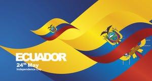 Fondo del paesaggio del nastro della bandiera di festa dell'indipendenza dell'Ecuador royalty illustrazione gratis