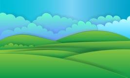 Fondo del paisaje de la naturaleza, diseño de papel cuted ilustración del vector