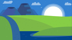 Fondo del paisaje de la naturaleza, diseño plano lindo libre illustration