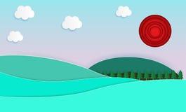 Fondo del paisaje de la naturaleza, estilo del corte del papel, verano hermoso e illus plano del vector del diseño de color en co stock de ilustración