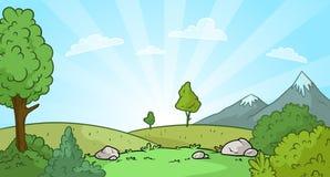 Fondo del paisaje de la naturaleza de la salida del sol de la historieta ilustración del vector