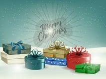 Fondo del paisaje de la Navidad del día de fiesta con los fuegos artificiales y el copyspace de una caja de regalo Año Nuevo Dise Imagen de archivo