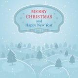 Fondo del paisaje de la nieve de la Navidad stock de ilustración