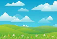 Fondo del paisaje de la primavera con las nubes, las flores, y el prado verde stock de ilustración