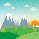 Fondo del paisaje de la primavera de la sol con una hierba Fotografía de archivo libre de regalías