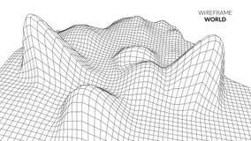 Fondo del paisaje de Wireframe Paisaje futurista con la línea rejilla Trazado polivinílico bajo de 3D Wireframe Red cibernética Fotografía de archivo libre de regalías