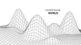 Fondo del paisaje de Wireframe Paisaje futurista con la línea rejilla Trazado polivinílico bajo de 3D Wireframe Red cibernética Fotografía de archivo
