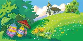 Fondo del paisaje del día de fiesta de Pascua con la iglesia y los huevos Foto de archivo libre de regalías