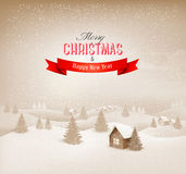 Fondo del paisaje del invierno de la Navidad. Fotografía de archivo