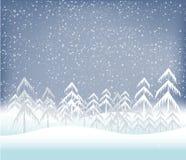 Fondo del paisaje del invierno del día de fiesta con el árbol Foto de archivo libre de regalías