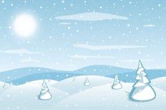Fondo del paisaje del invierno Colinas nevosas y pinos de las montañas azules en primero plano Día nevoso escarchado La Navidad y ilustración del vector