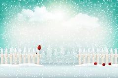 Fondo del paisaje del invierno de la Navidad