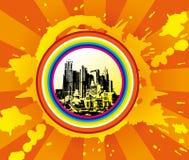 Fondo del paisaje urbano, arte urbano Stock de ilustración
