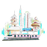 Fondo del paisaje urbano de Japón ilustración del vector