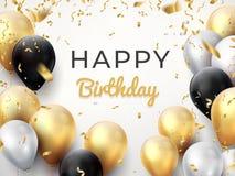 Fondo del pallone di compleanno Carta dorata di celebrazione di anniversario, cartolina d'auguri brillante della decorazione Mani illustrazione vettoriale