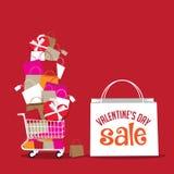 Fondo del panier de la venta del día de tarjeta del día de San Valentín Foto de archivo libre de regalías