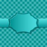 Fondo del papel azul con la insignia en el centro stock de ilustración