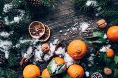 Fondo del papel pintado de la Navidad o del Año Nuevo con las mandarinas, el árbol de abeto, las especias y la nieve Foto de archivo