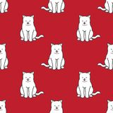Fondo del papel pintado del garabato del gatito del vector de Cat Seamless Pattern aislado ilustración del vector