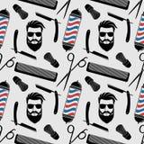 Fondo del parrucchiere, modello senza cuciture con le forbici di lavoro di parrucchiere, spazzola di rasatura, rasoio, pettine, f illustrazione vettoriale