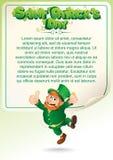 Fondo del partito di giorno di San Patrizio con il leprechaun Fotografie Stock Libere da Diritti