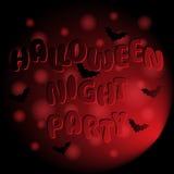 Fondo del partito di Halloween con iscrizione ed i pipistrelli Immagini Stock Libere da Diritti