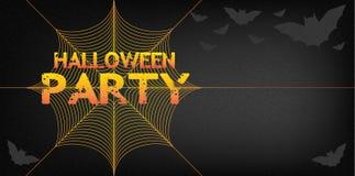 Fondo del partito di Halloween con rete ed i pipistrelli Immagini Stock Libere da Diritti