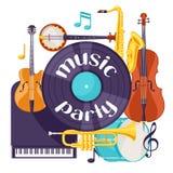 Fondo del partito di musica di jazz retro con gli strumenti musicali illustrazione vettoriale