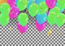 Fondo del partito di vettore con i coriandoli ed i palloni Fotografia Stock