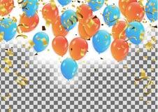 Fondo del partito di vettore con i coriandoli ed i palloni Immagini Stock Libere da Diritti