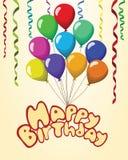 Fondo del pastel de las cintas de los baloons del texto del feliz cumpleaños Imagenes de archivo