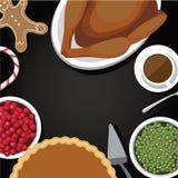 Fondo del pasto di ringraziamento con lo spazio della copia Fotografia Stock