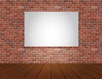 Fondo del pavimento di legno e del muro di mattoni Immagini Stock Libere da Diritti