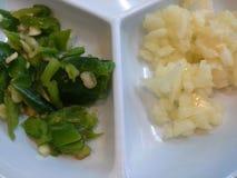 Fondo del pepe dell'aglio Fotografie Stock Libere da Diritti