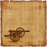 Fondo del pergamino del cañón - era de la guerra civil Foto de archivo libre de regalías
