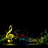 Fondo del personal de las notas musicales en negro stock de ilustración