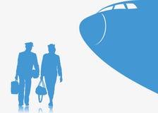 Fondo del piloto y de la azafata Imagenes de archivo