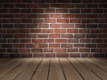 Piso de madera de la pared de ladrillo imagen de archivo