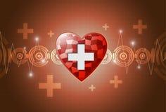 Fondo del polígono del corazón stock de ilustración