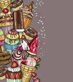 Fondo del postre con las magdalenas y el helado ilustración del vector